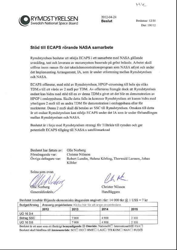 new concept 58643 36293 Stöd till ECAPS rörande NASA samarbete .